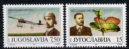 Yugoslavia 1991 Centenary of First Heavier-than-air Flight set of 2 unmounted mint, SG 2694-95