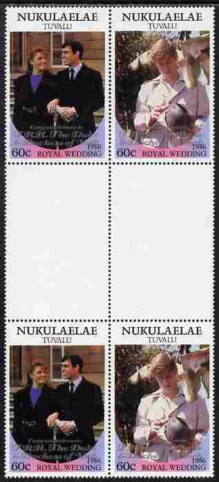Tuvalu - Nukulaelae 1986 Royal Wedding (Andrew & Fergie) 60c with 'Congratulations' opt in silver in unissued perf inter-paneau block of 4 (2 se-tenant pairs) unmounted mint from Printer's uncut proof sheet