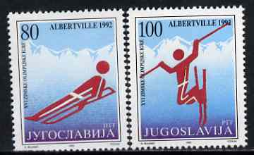 Yugoslavia 1992 Albertville Winter Olympics set of 2 unmounted mint, SG 2765-66