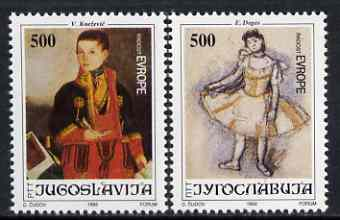Yugoslavia 1992 24th Joy of Europe (Paintings of Children) set of 2 unmounted mint, SG 2819-20