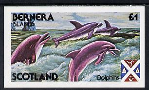 Bernera 1978 Dolphins imperf souvenir sheet (�1 value) unmounted mint