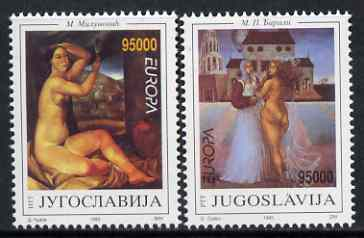Yugoslavia 1993 Europa (Contemporary Art) set of 2 unmounted mint, SG 2858-59