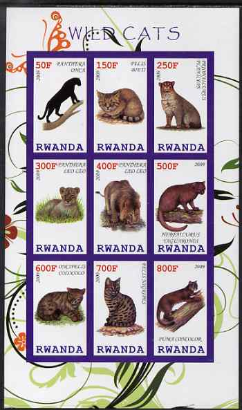Rwanda 2009 Wild Cats imperf sheetlet containing 9 values unmounted mint