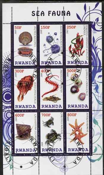 Rwanda 2009 Marine Life perf sheetlet containing 9 values fine cto used