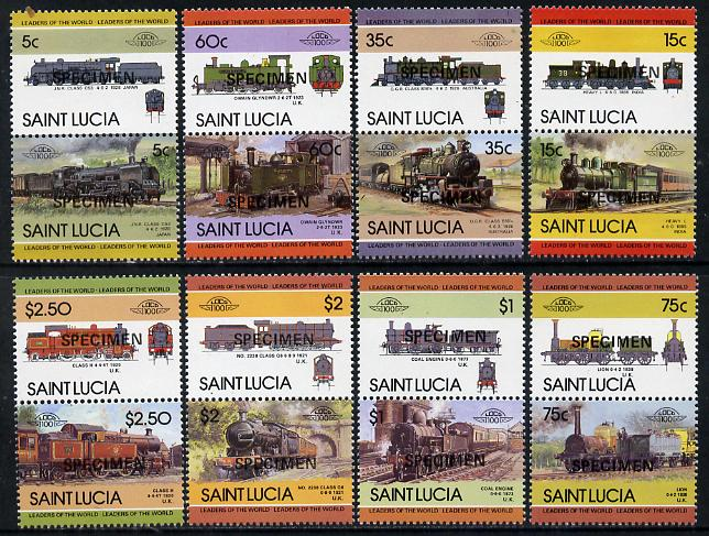 St Lucia 1985 Locomotives #3 (Leaders of the World) set of 16 opt'd SPECIMEN (as SG 761-76) unmounted mint