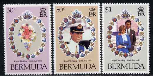 Bermuda 1981 Royal Wedding set of 3 unmounted mint, SG 436-38, stamps on royalty, stamps on charles, stamps on diana