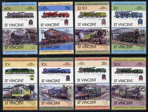 St Vincent 1983 Locomotives #1 (Leaders of the World) set of 16 opt'd SPECIMEN (as SG 744-59) unmounted mint