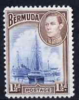Bermuda 1938-52 KG6 Ships in Hamilton Harbour 1.5d light blue & purple-brown unmounted mint, SG 111b