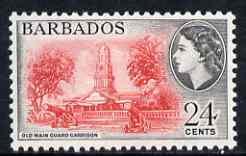 Barbados 1964-65 Old Main Guard Garrison 24c (wmk block CA) unmounted mint, SG 316*, stamps on forts, stamps on militaria