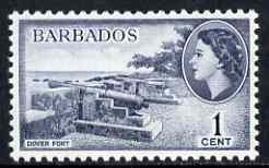 Barbados 1964-65 Dover Fort 1c (wmk block CA) unmounted mint, SG 312*, stamps on forts, stamps on militaria