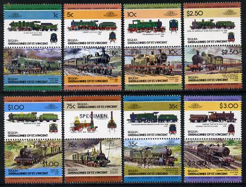 St Vincent - Bequia 1984 Locomotives #2 (Leaders of the World) set of 16 opt