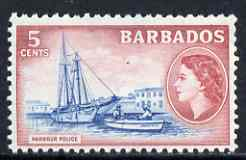 Barbados 1953-61 Harbour Police 5c (wmk Script CA) unmounted mint SG 293, stamps on harbours, stamps on police, stamps on yachts