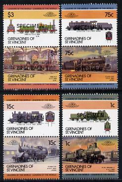 St Vincent - Grenadines 1985 Locomotives #3 (Leaders of the World) set of 8 opt'd SPECIMEN (as SG 351-58) unmounted mint