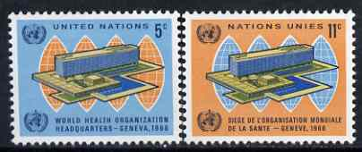 United Nations (NY) 1966 Inauguration of World Health Organisation set of 2 unmounted mint, SG 156-57