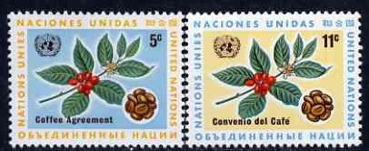 United Nations (NY) 1966 International Coffee Agreement set of 2 unmounted mint, SG 158-59*