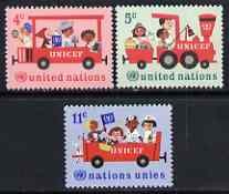 United Nations (NY) 1966 20th Anniversary of UNICEF set of 3 unmounted mint, SG 161-63