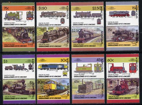 St Vincent - Union Island 1986 Locomotives #4 (Leaders of the World) set of 16 opt'd SPECIMEN unmounted mint