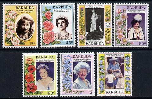 Barbuda 1985 Life & Times of HM Queen Mother set of 7 unmounted mint, SG 776-82