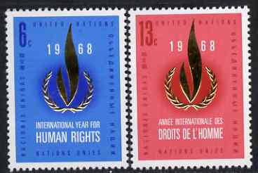 United Nations (NY) 1968 Human Rights Year set of 2 unmounted mint, SG 191-92*