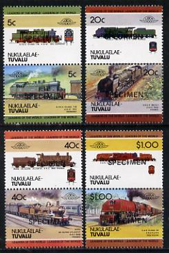 Tuvalu - Nukulaelae 1984 Locomotives #2 (Leaders of the World) set of 8 opt'd SPECIMEN unmounted mint