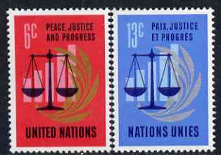 United Nations (NY) 1970 Peace, justice & Progress set of 2 unmounted mint, SG 213-14