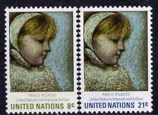 United Nations (NY) 1971 UN International Schools (Maia by Picasso) set of 2 unmounted mint, SG 225-26