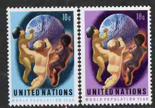 United Nations (NY) 1974 World Population Year set of 2 unmounted mint, SG 259-60