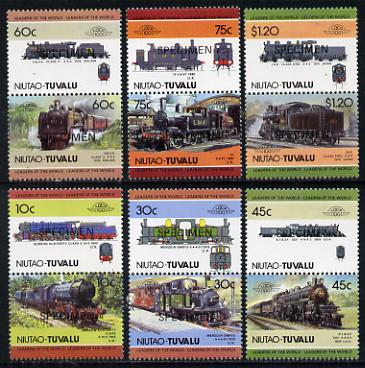 Tuvalu - Niutao 1985 Locomotives #2 (Leaders of the World) set of 12 opt'd SPECIMEN unmounted mint