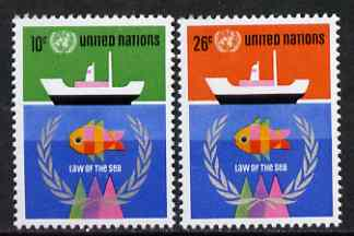 United Nations (NY) 1974 UN Conference on 'Law of the Sea' set of 2 unmounted mint, SG 261-62