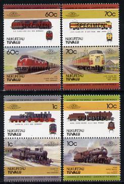 Tuvalu - Nukufetau 1985 Locomotives #1 (Leaders of the World) set of 8 opt'd SPECIMEN unmounted mint