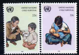 United Nations (NY) 1985 UNICEF Child Survival Campaign set of 2 unmounted mint, SG 475-76