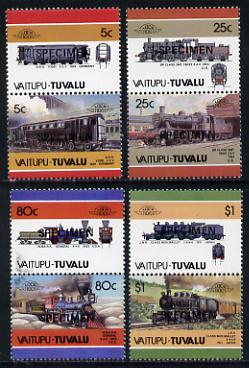 Tuvalu - Vaitupu 1986 Locomotives #2 (Leaders of the World) set of 8 opt'd SPECIMEN unmounted mint