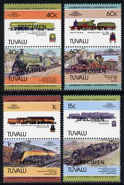 Tuvalu 1984 Locomotives #1 (Leaders of the World) set of 8 opt'd SPECIMEN (as SG 241-48) unmounted mint