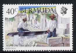 Bermuda 1981 Stone Cutting 40c (from Heritage set) unmounted mint with wmk Crown to Right, SG 433w