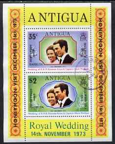 Barbuda 1973 Royal Wedding m/sheet opt