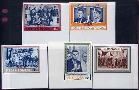 Philippines 1968 Kennedy imperf set of 5 opt'd 'SNV' unmounted mint (unissued) See note after SG 1071, stamps on kennedy, stamps on personalities, stamps on