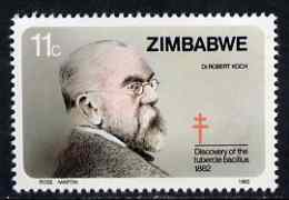 Zimbabwe 1982 Discovery of Tubercle Bacillus 11c (Robert Koch) unmounted mint SG 620*, stamps on medical, stamps on science, stamps on diseases, stamps on nobel