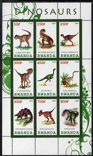 Rwanda 2009 Dinosaurs #1 perf sheetlet containing 9 values unmounted mint