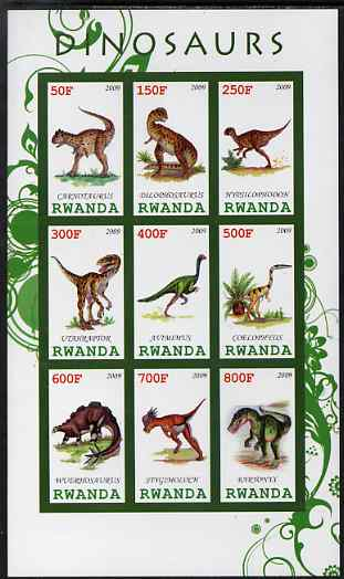 Rwanda 2009 Dinosaurs #1 imperf sheetlet containing 9 values unmounted mint