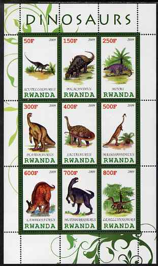 Rwanda 2009 Dinosaurs #2 perf sheetlet containing 9 values unmounted mint