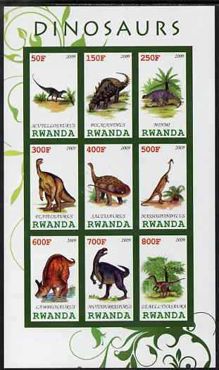 Rwanda 2009 Dinosaurs #2 imperf sheetlet containing 9 values unmounted mint