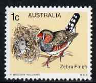 Australia 1978-80 Spotted-sided Finch (Zebra Finch) 1c from Bird def set unmounted mint SG 669*