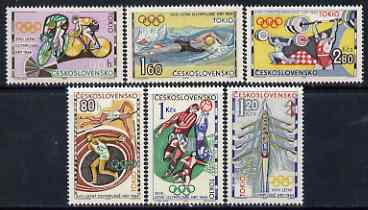 Czechoslovakia 1964 Tokyo Olympic Games set of 6 unmounted mint, SG 1440-45, stamps on olympics, stamps on bicycles, stamps on discus, stamps on pole vault, stamps on football, stamps on rowing, stamps on swimming, stamps on weightlifting, stamps on sport