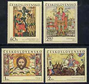 Czechoslovakia 1970 Slovak Icons set of 4 unmounted mint, SG 1925-28*, stamps on arts, stamps on adam, stamps on judaica, stamps on horses, stamps on dragons, stamps on angels, stamps on religion, stamps on st george