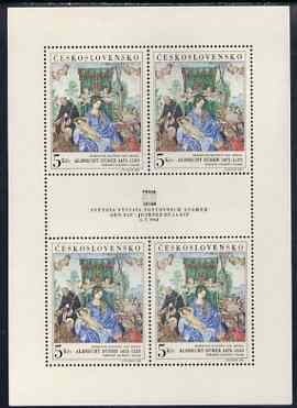 Czechoslovakia 1968 'Praga 68' Stamp Exhibition (6th issue - painting by Durer) unmounted mint sheetlet of 4 plus label, as SG 1756