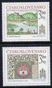 Czechoslovakia 1977 Historic Bratislavia (1st issue) set of 2 unmounted mint, SG 2380-81, stamps on tourism, stamps on arms, stamps on heraldry, stamps on rivers
