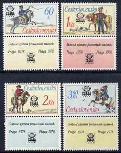 Czechoslovakia 1977 'Praga 78' Stamp Exhibition (4th issue - Postal Riders) set of 4 (each with label) unmounted mint, SG 2339-42