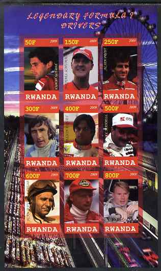 Rwanda 2009 Formula 1 Drivers imperf sheetlet containing 9 values unmounted mint