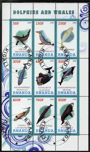 Rwanda 2009 Whales & Dolphins perf sheetlet containing 9 values fine cto used