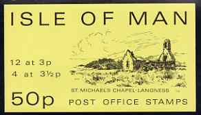 Isle of Man 1974 St Michael's Chapel 50p stamp sachet (yellow cover) complete and pristine
